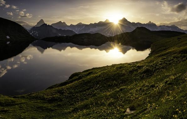 Picture sunset, mountains, lake, Switzerland, Alps, panorama, Switzerland, Alps, pass, The Great St. Bernard, Great Saint …