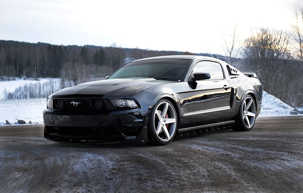 Picture road, the sky, trees, black, mustang, Mustang, ford, black, Ford, the front
