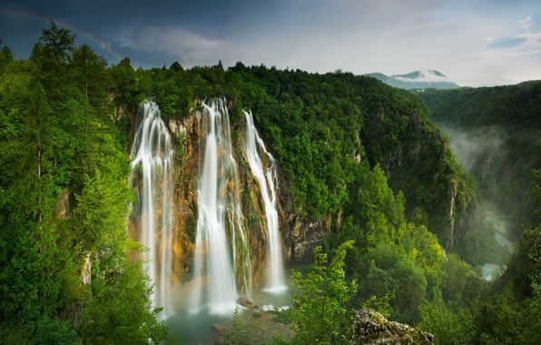 Picture forest, mountains, river, waterfall, rainbow, gorge