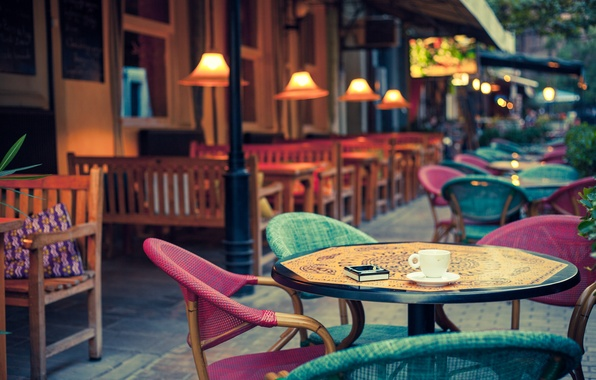 Picture city, the city, street, chairs, cafe, street, terrace, lamps, old-fashioned, cafe, lamps, terrace, tables, tables, …