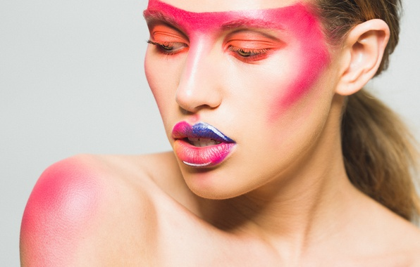 Picture girl, face, style, color, makeup, lipstick, lips, paint