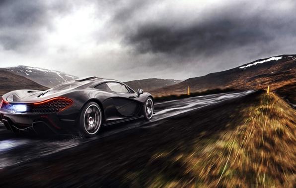 Picture McLaren, Clouds, Fire, Black, Rain, Road, Supercar, Exhaust, Rear