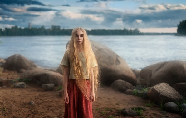 Picture shore, model, the beauty, long hair, Tatiana Mercalova, Eugene Buksa