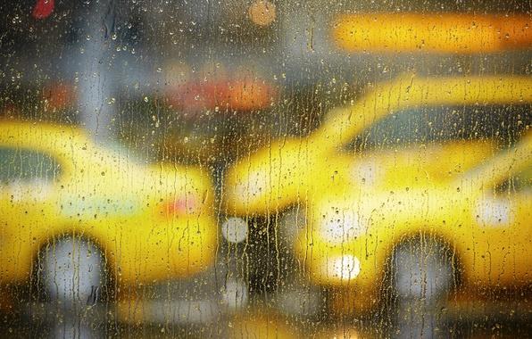 Picture road, glass, drops, machine, the city, rain, window, taxi, bokeh