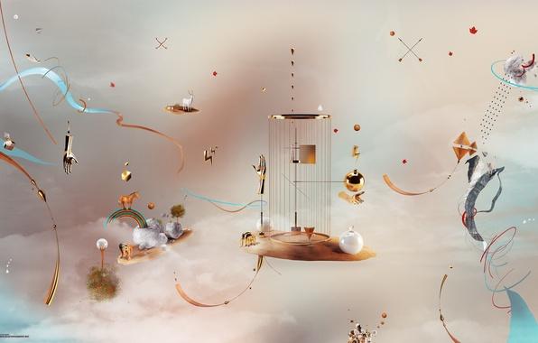 Picture cubes, rainbow, cell, deer, hands, unicorn, desktopography