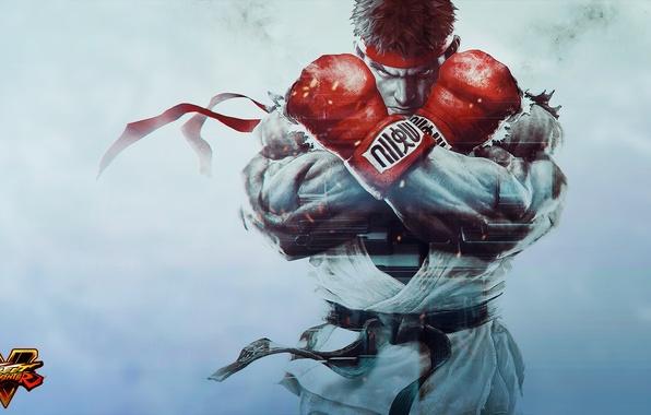 Picture gloves, fighter, art, ryu, Street Fighter 5, Street Fighter V