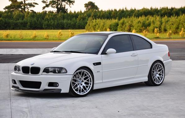 Picture road, white, asphalt, bmw, BMW, white, e46, bitonic coating