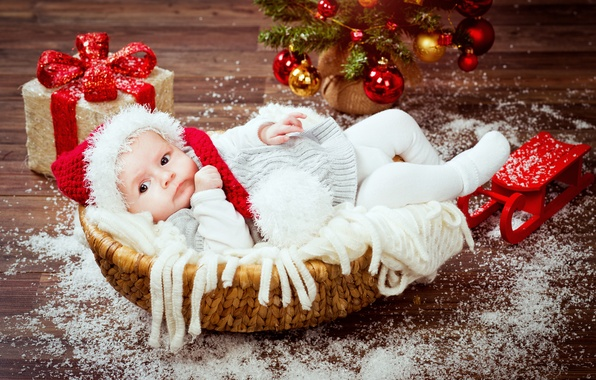 Picture basket, hat, toys, child, baby, Christmas, gifts, Christmas, New Year, child, baby, infant