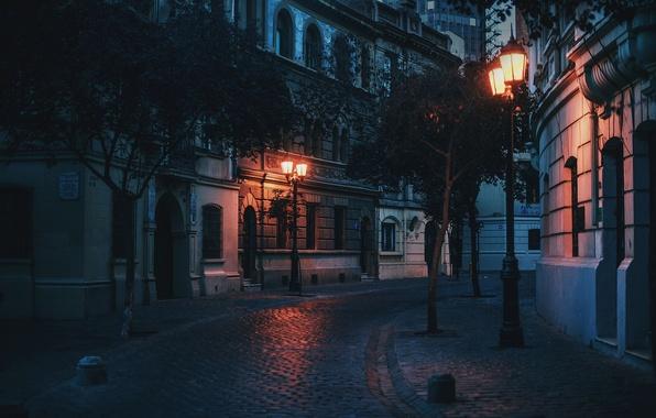 Picture light, street, cityscape, lamp posts, urban scene