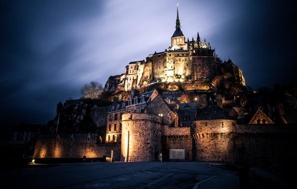 Picture night, castle, France, architecture, The Mont-St.-Michel, Basse-Normandie