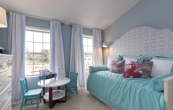 Picture design, room, toys, bed, table, children's