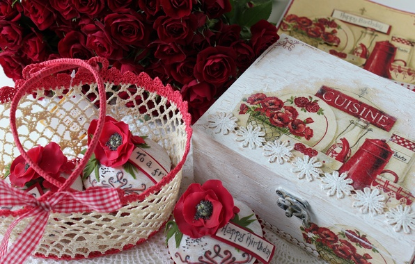 Picture flower, flowers, the sweetness, roses, box, cake