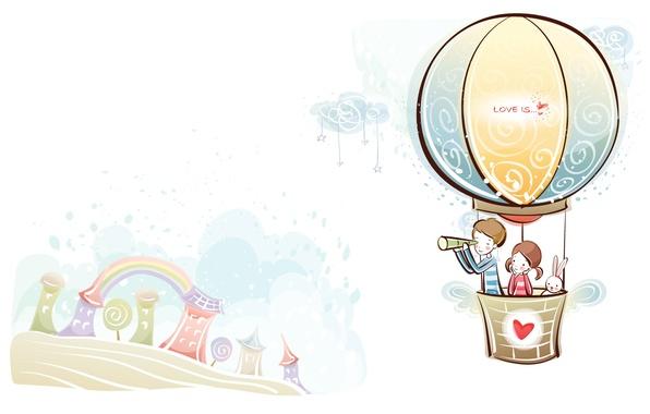 Picture love, balloon, figure, rainbow, boy, pair, girl, love, two, art, Mood