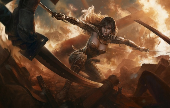 Picture flame, Girl, armor, the battle, warrior, swords