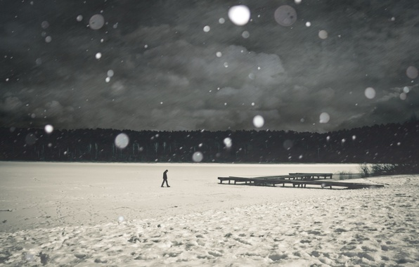 Picture ice, snow, trees, river, loneliness, grey, people, pierce, Mood