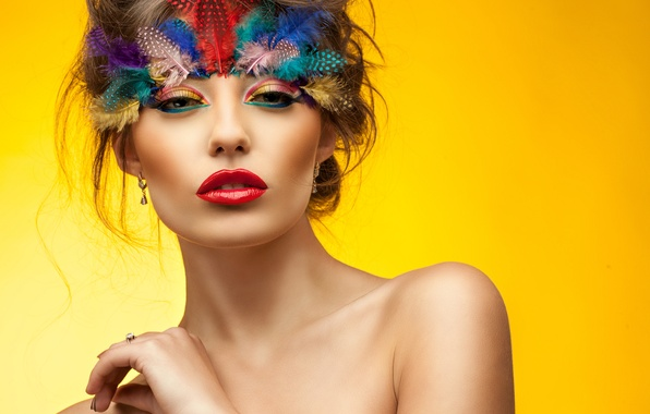 Picture eyes, look, girl, face, hand, feathers, makeup, shoulders, yellow background, neck, red lips