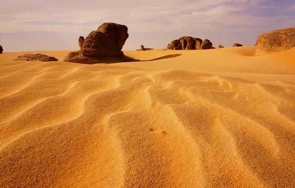 Picture sand, the sky, stones, desert, dunes, sugar, Algeria