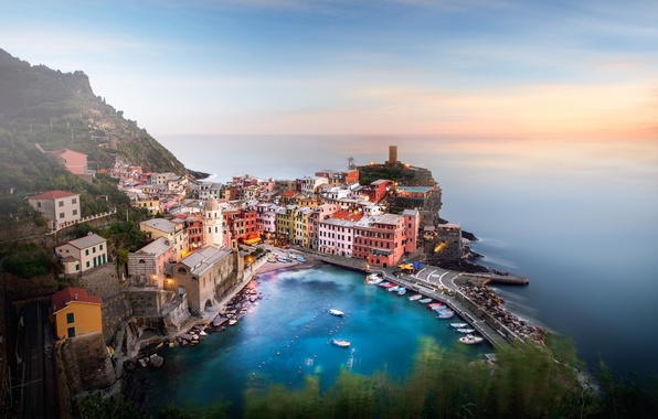Picture greens, the sky, sunset, mountain, Bay, town, photographer, Guerel Sahin