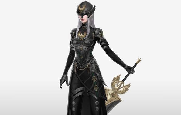 Picture girl, bird, sword, armor