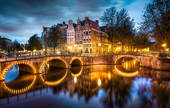 Picture the sky, water, trees, clouds, bridge, the city, lights, reflection, river, home, the evening, lighting, …