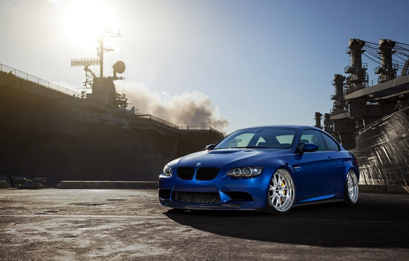 Picture the sky, the sun, blue, smoke, bmw, BMW, blue, e92