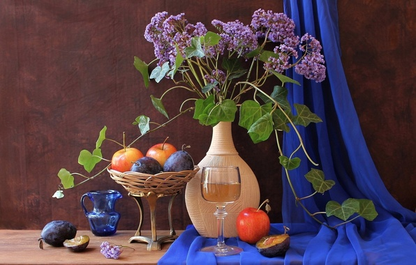 Picture flowers, vase, fruit, still life, plum, kuvrie