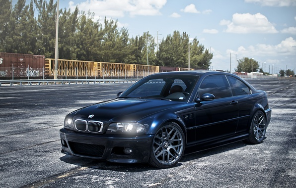 Picture the sky, clouds, BMW, cars, BMW, E46, dark blue, dark blue