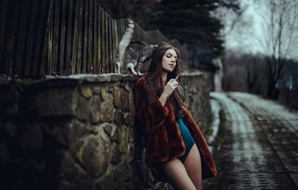 Picture cat, girl, Magda
