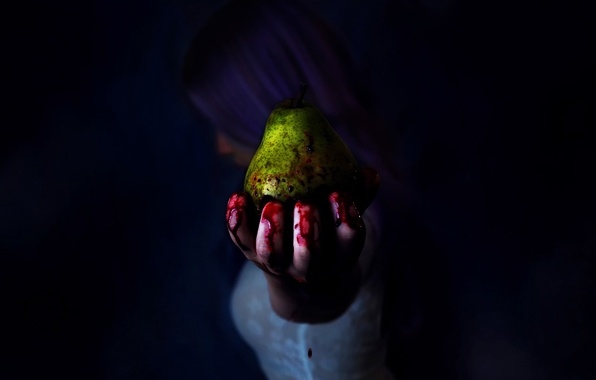 Picture girl, blood, hand, pear, fingers