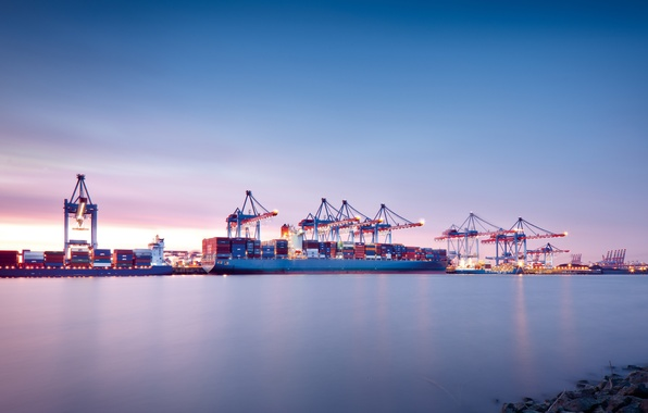 Picture The sky, Sea, The evening, Port, The ship, Calm, Cranes, Terminal, Container ships