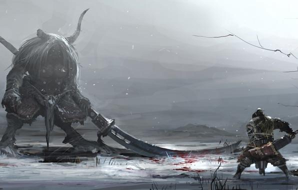 Picture winter, snow, weapons, blood, monster, warrior, art, horns, battle