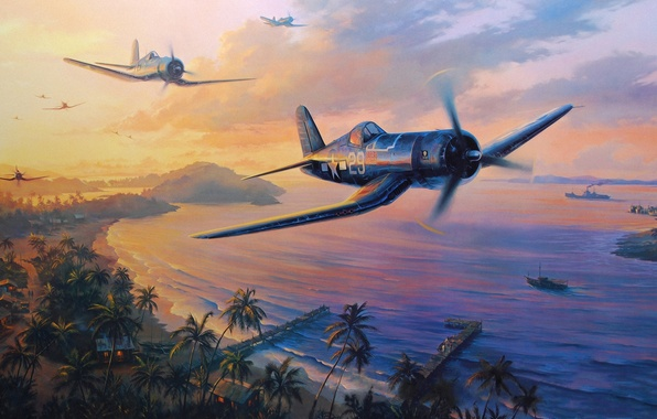 Picture aircraft, war, art, airplane, painting, aviation, drawing, ww2, dogfight, pacific war, f4u corsair