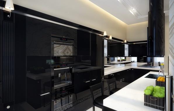 Picture design, style, lamp, furniture, kitchen, modern, interior, modern, cabinets, hood, kitchen, chair., desogn, Technica