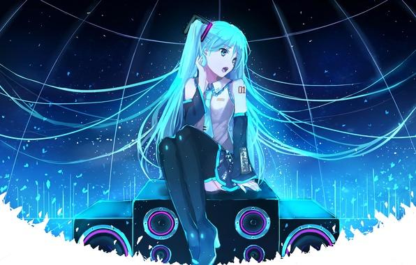 Picture girl, hair, anime, art, speakers, vocaloid, hatsune miku, sings, bai kongque