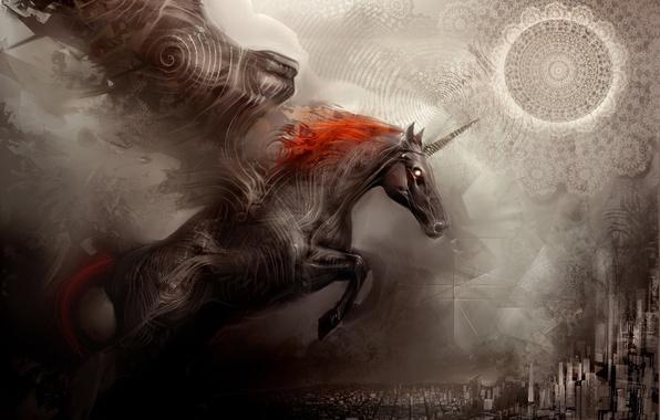 Picture the city, fantasy, horse, Wallpaper, unicorn