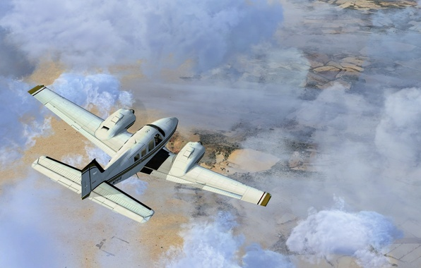 Picture the sky, clouds, flight, the plane, twin-engine, transport, at the destination