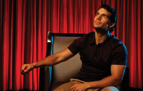Picture chair, photographer, newspaper, actor, red, curtains, photoshoot, Henry Cavill, Henry Cavill, Los Angeles Times, LA …
