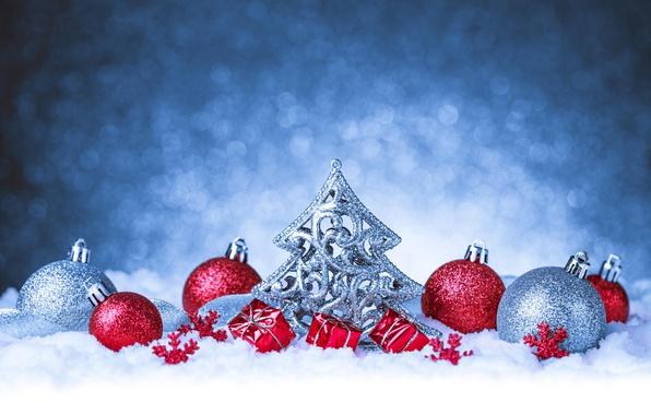 Picture balls, snow, background, balls, Christmas, New year, tinsel, herringbone, herringbone