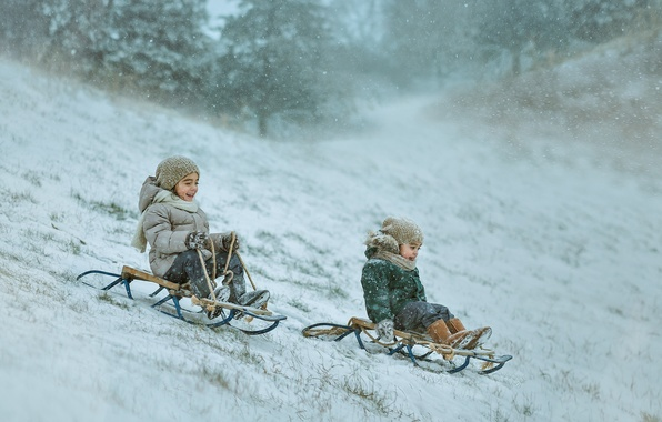 Picture winter, children, sled