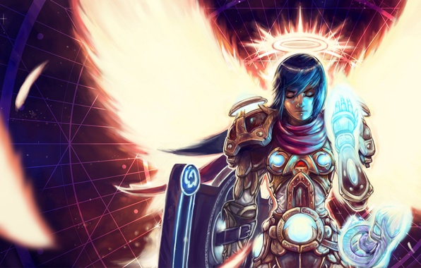 Picture weapons, magic, Girl, armor, gesture, halo, paladin