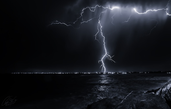 Picture sea, the sky, night, nature, lightning