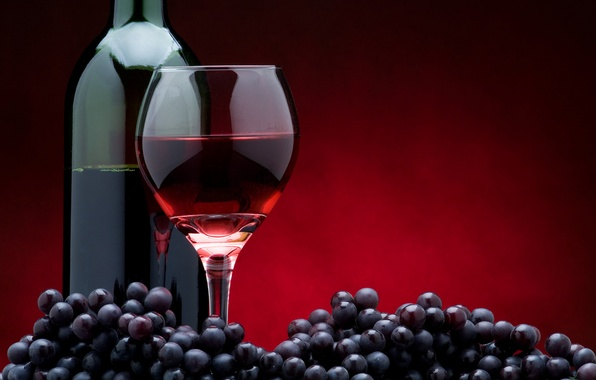 Picture glass, the dark background, wine, red, glass, bottle, grapes