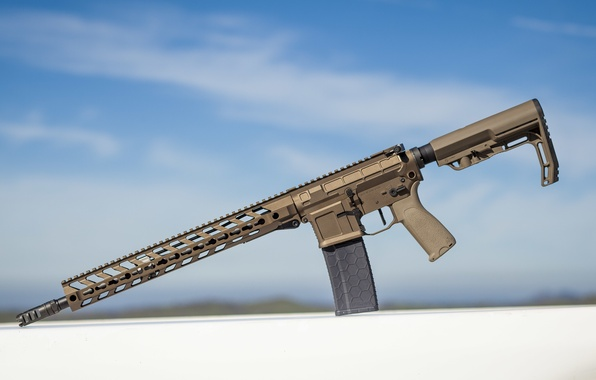 Picture the sky, weapons, background, assault rifle