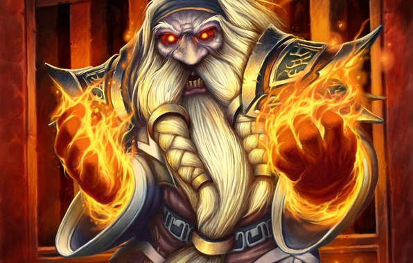 Picture fire, magic, art, beard, WoW, World of Warcraft, dwarf, Hearthstone, Blackrock Mountain, Judge Traceymane, High ...