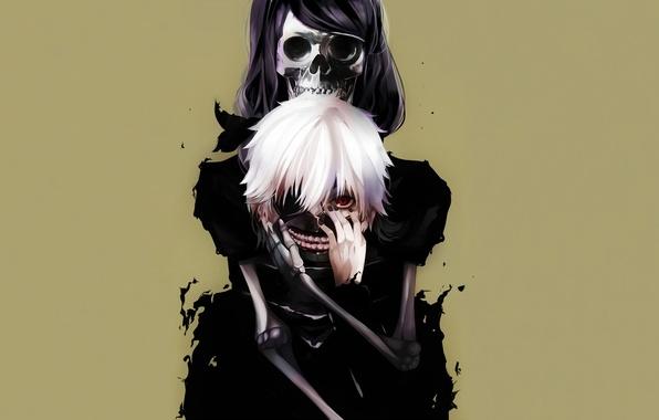 Picture mask, skeleton, guy, red eye, Tokyo Ghoul, Ken Kanek, Tokyo Ghoul, Kamishiro Rize