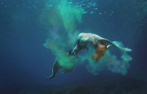 Picture sea, girl, mermaid, costume, tail, extreme, photoshoot, the little mermaid, style