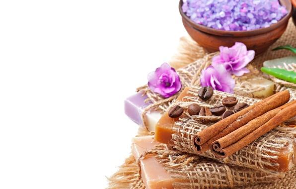 Spa wallpaper  Wallpaper soap, flowers, salt, lavender, coffee, natural, relax ...