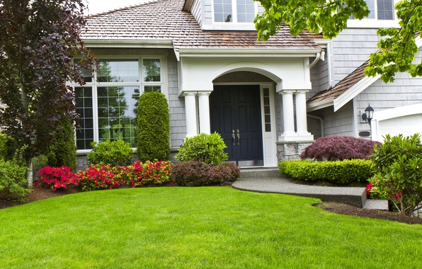 Picture greens, grass, leaves, trees, flowers, branches, design, house, lawn, mansion, the bushes