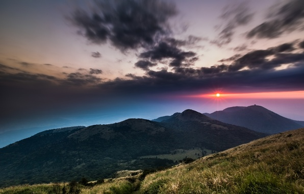 Picture the sky, grass, the sun, clouds, trees, sunset, mountains, clouds, hills, the evening, China, Taiwan, …