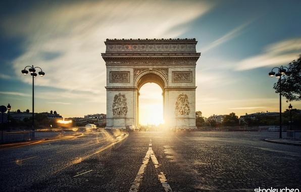 Picture road, the city, France, Paris, the evening, excerpt, Paris, France, Arc de Triomphe, Arch